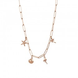 COLLIER WITH CHARMS OR ROSE...