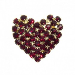 Rhinestone heart gold/red...