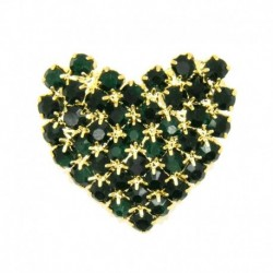 Rhinestone heart gold/green...